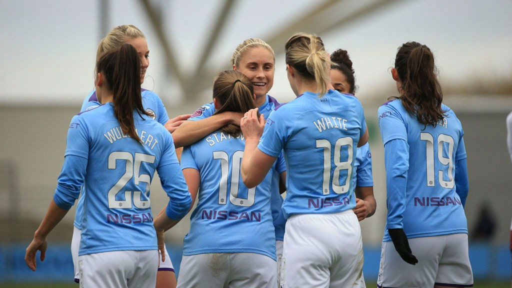 DAY TO REMEMBER: The City players salute Georgia Stanway after her second goal