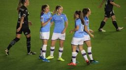 JANINE JOY: Janine Beckie celebrates her opening goal against Lugano