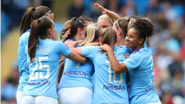 WHAT A FEELING: The City players salute Caroline Weir after her wonder goal