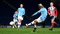 MAGIC MOMENT: Laura Coombs scores her first goal for City with a superb curling strike