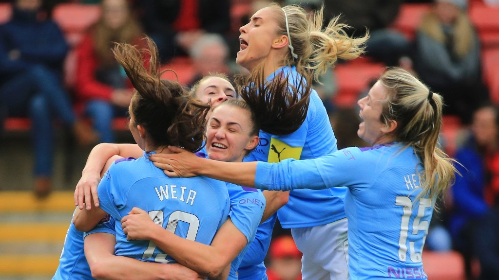 DERBY DELIGHT: The City players celebrate Ellen White's opener