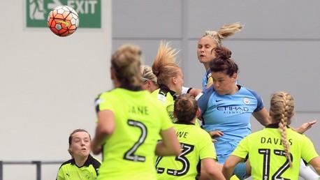 GREAT SCOT: Jennifer Beattie heads home her third City goal
