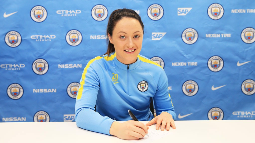 SOLID: Megan Campbell puts pen to paper on a new deal