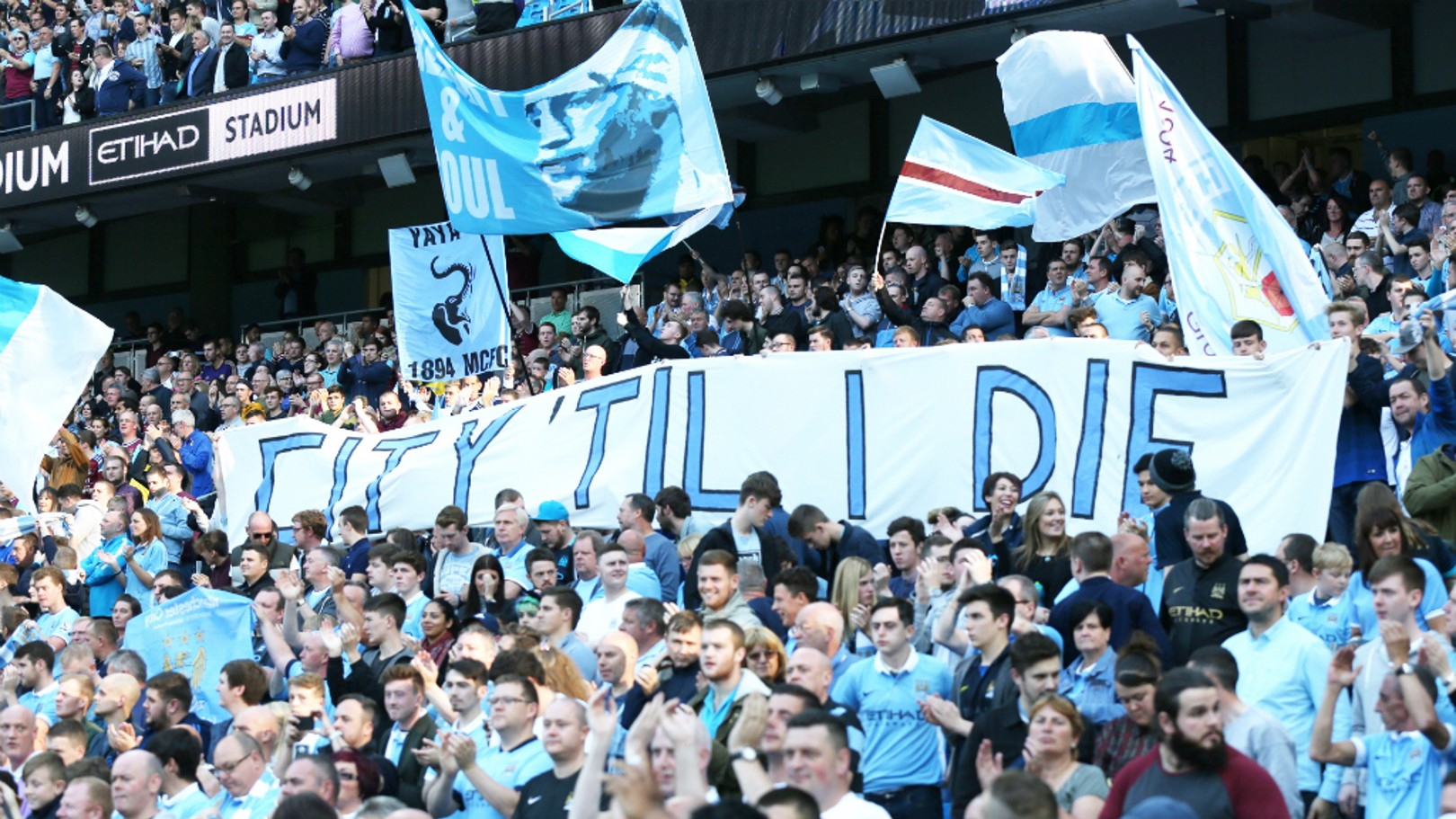 BLUE ARMY: A sea of blue and white in the South Stand