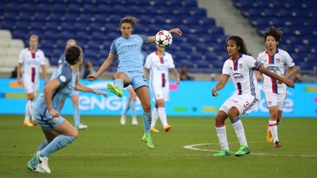 ATTACK: Carli Lloyd in action against Lyon