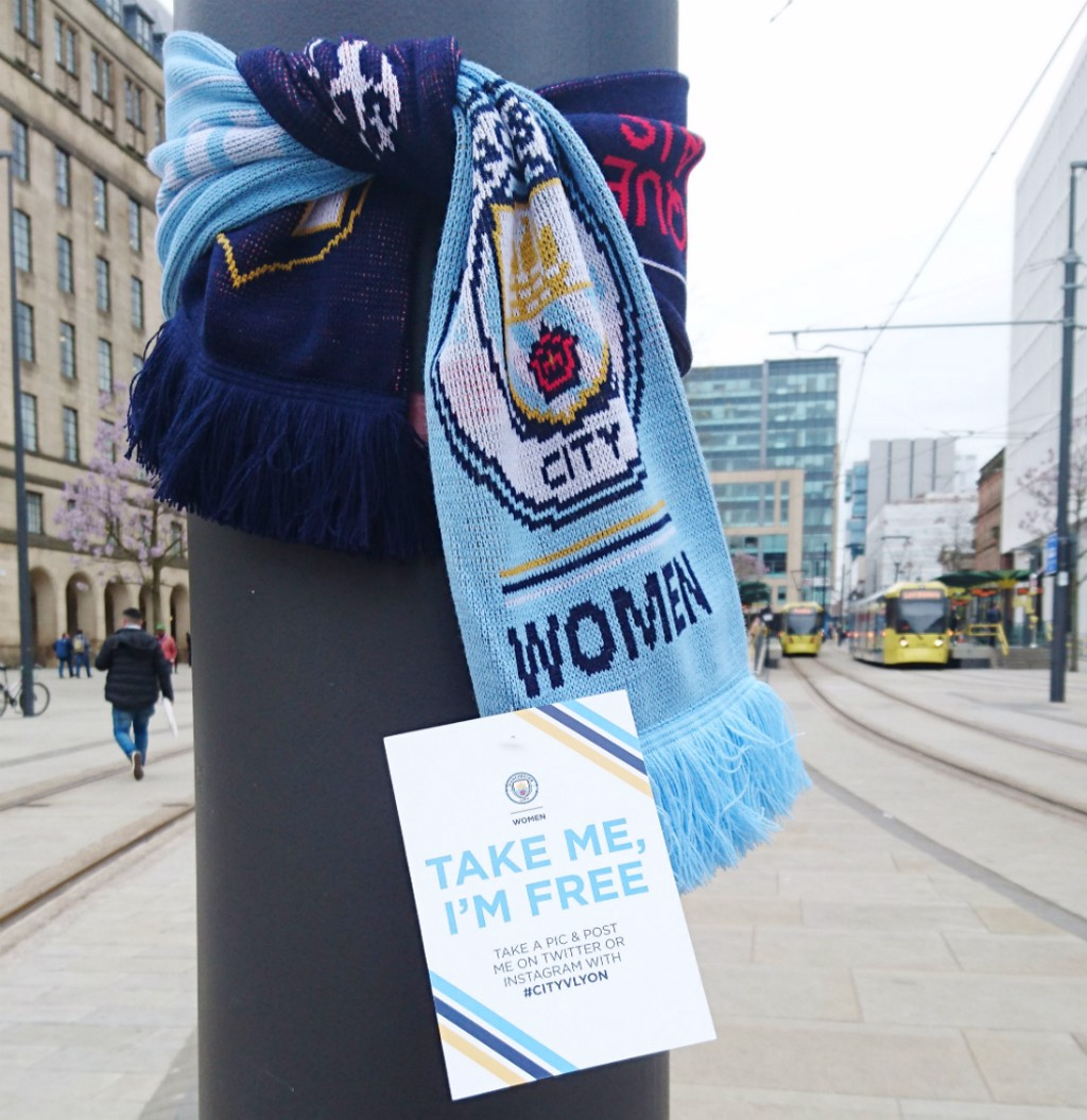Man City Women scarf in St Peter's Square, Manchester