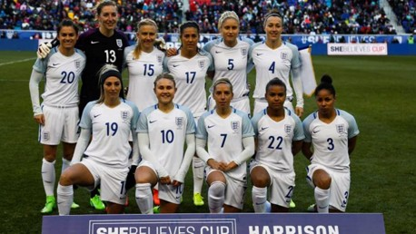 HISTORY MAKERS: England line up ahead of their game against the USA