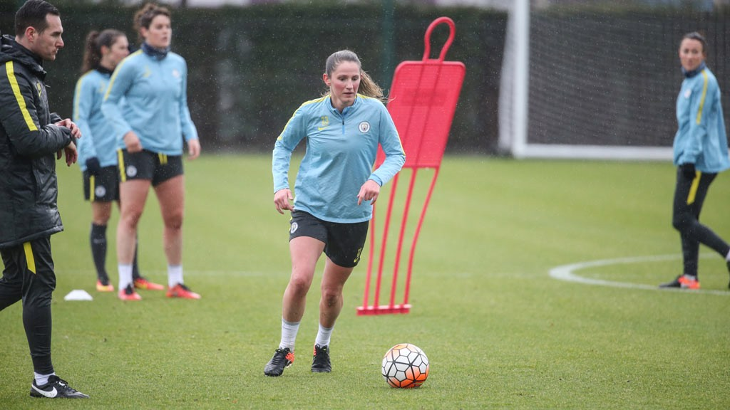 NEARING FITNESS: Abbie McManus, who missed much of last season through injury, is back on the ball