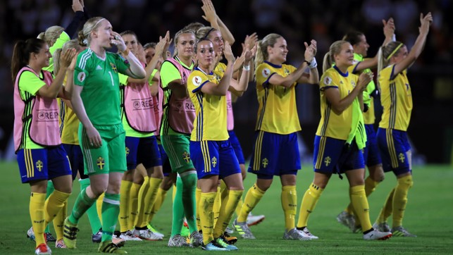 SOLID START: Kosovare Asllani applauds the fans after Sweden's draw with Germany in their opening game.