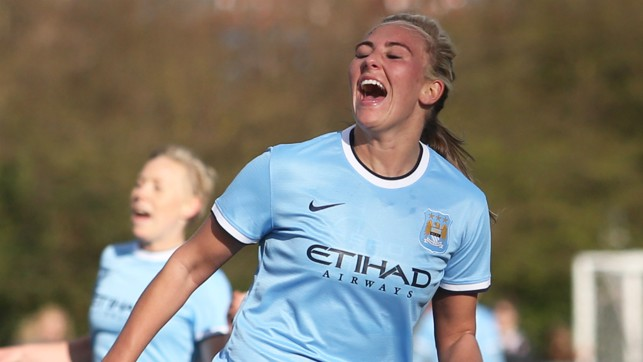 OFF THE MARK: Celebrating her first goals for Man City Women - a hat-trick in a friendly at Durham