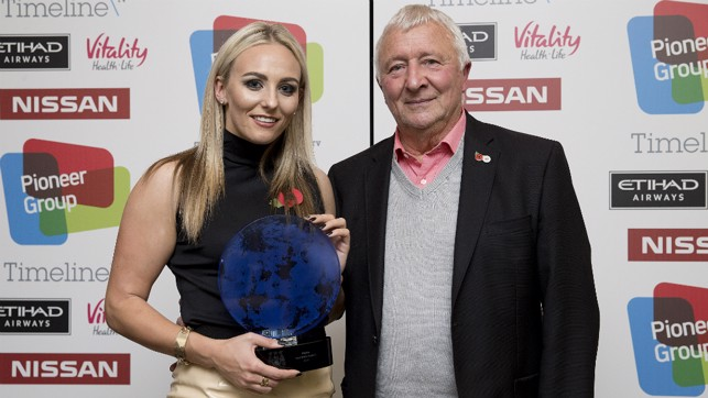 AWARD: Receiving the Nissan Goal of the Season award from Club legend Mike Summerbee