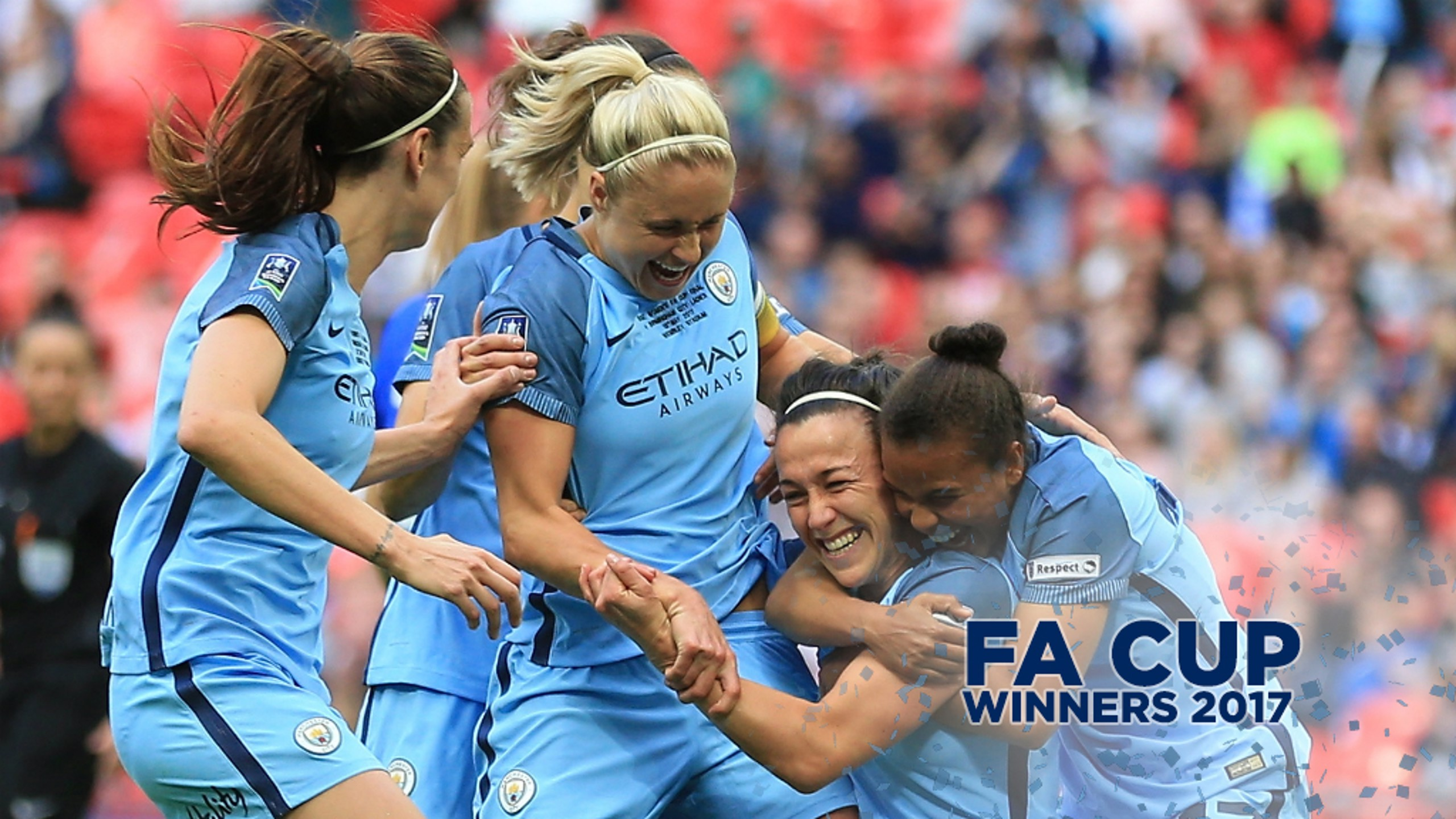 GOLDEN BRONZE: Lucy Bronze is congratulated having opened the scoring at Wembley