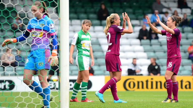 TEAMWORK: Jane Ross thanks Claire Emslie for the assist at Yeovil