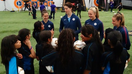 FESTIVAL FUN: Jane Ross, Marie Hourihan, Ellie Roebuck and Ella Toone attended the FA Girls Football Festival
