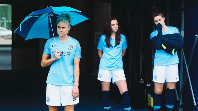 SKIPPER: Steph Houghton stays out of the rain.