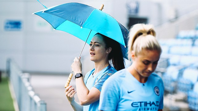 SINGING IN THE RAIN: Megan Campbell.