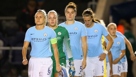 CAPTAIN: Steph Houghton leads the team out...