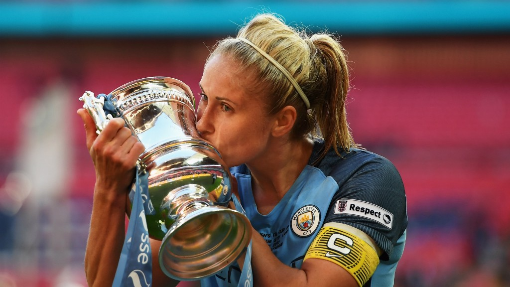 SUPER SKIPPER: Steph Houghton has lifted three trophies with City - the Continental Tyres Cup (twice), the league title and the FA Cup