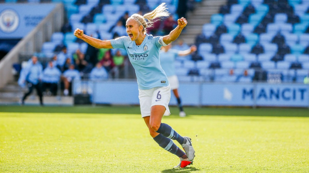 SUPER SKIPPER: Steph Houghton wheels away in elation...