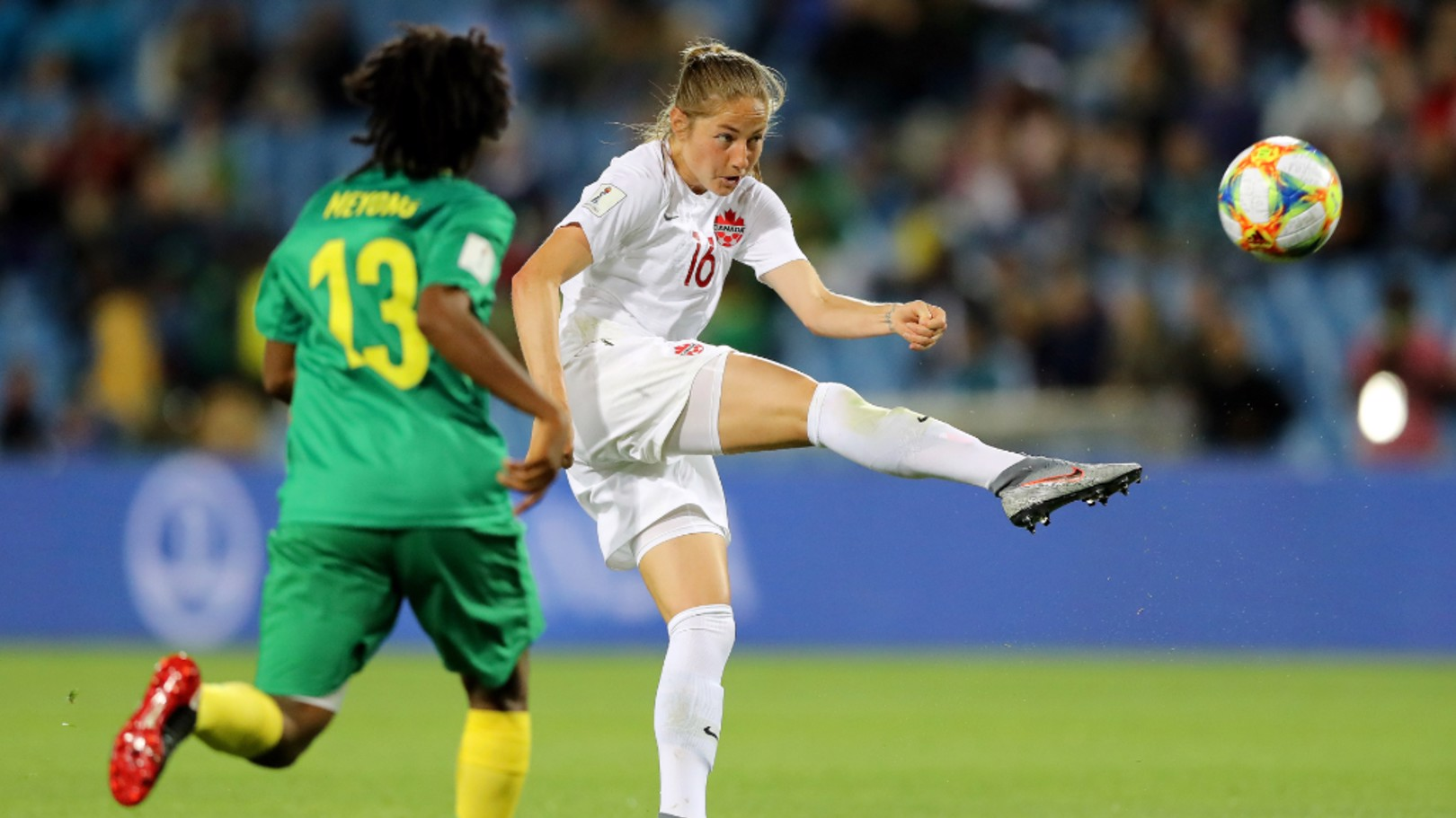 ACTION SHOT: Janine Beckie hits a half-volley against Cameroon in Canada's Group E opener