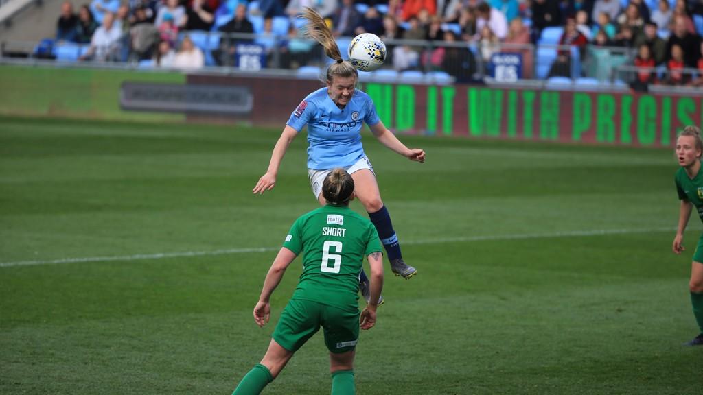 Hemp heads past Megan Walsh in the Yeovil goal