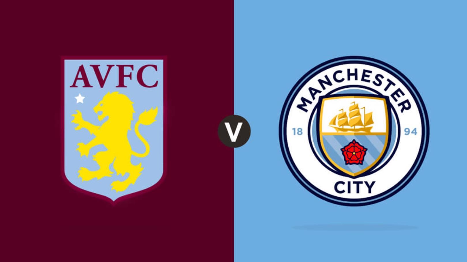 Aston Villa v Man City crests, Match Day Live
