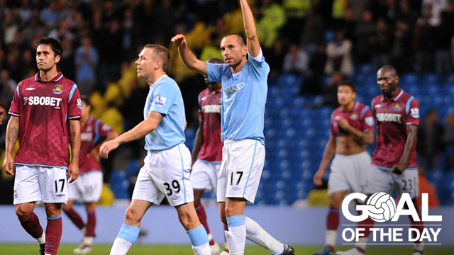 MASTERFUL: Petrov scores a free kick to end all free kicks against West Ham