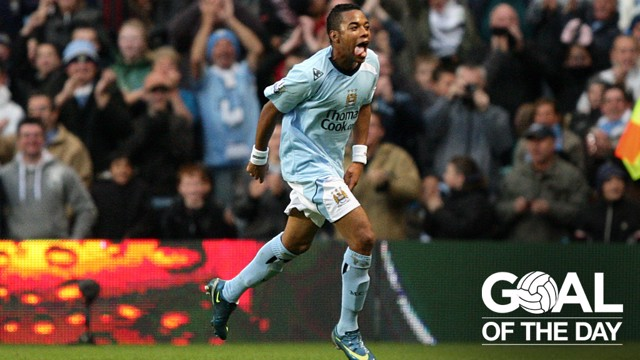 HAT-TRICK HERO: Robinho celebrates his treble against Stoke in 2008