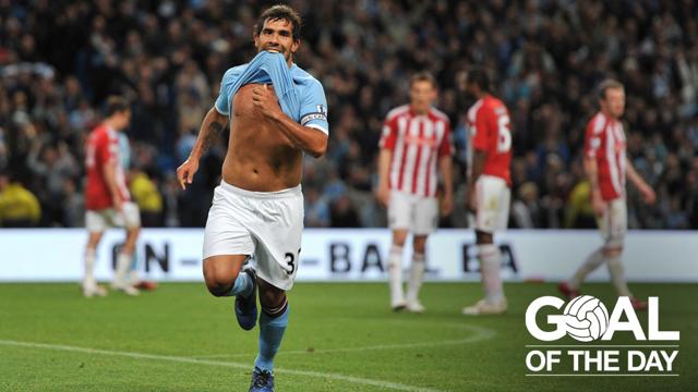 TOP CORNER: Carlos Teves stuns Stoke in 2011 with this beautiful free kick