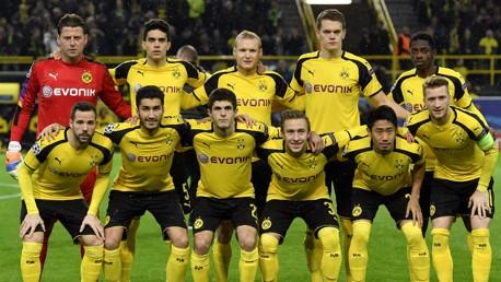 QUALITY: Borussia Dortmund line up ahead of their Champions League game against Legia Warsaw