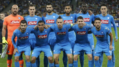 ITALIAN GIANTS: Napoli line up ahead of their Champions League group stage clash against Dynamo Kyiv