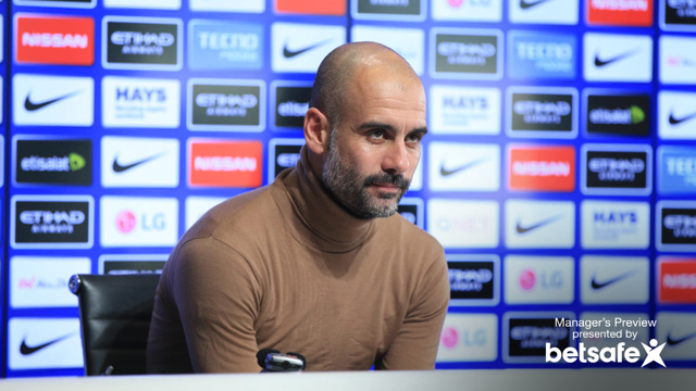 ARSENAL UP NEXT: Pep Guardiola gives his press conference to the media ahead of Arsenal fixture