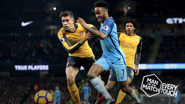 STAR MAN: Raheem Sterling put in a man of the match performance against Arsenal.