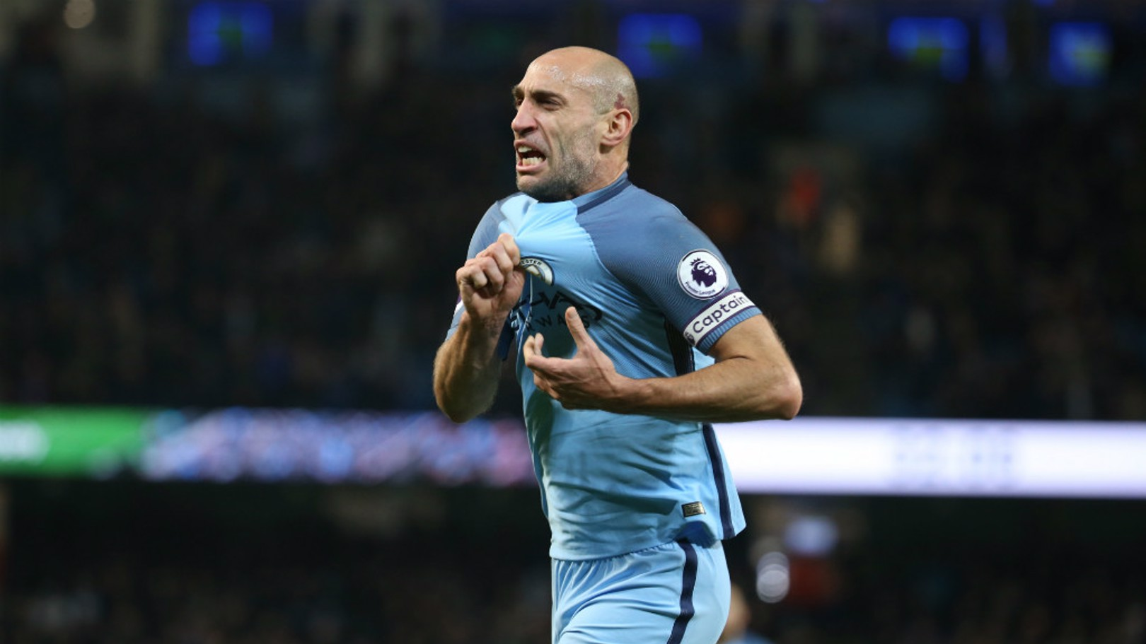 PASSION: Pablo Zabaleta has been explaining the reason behind his celebration against Watford.