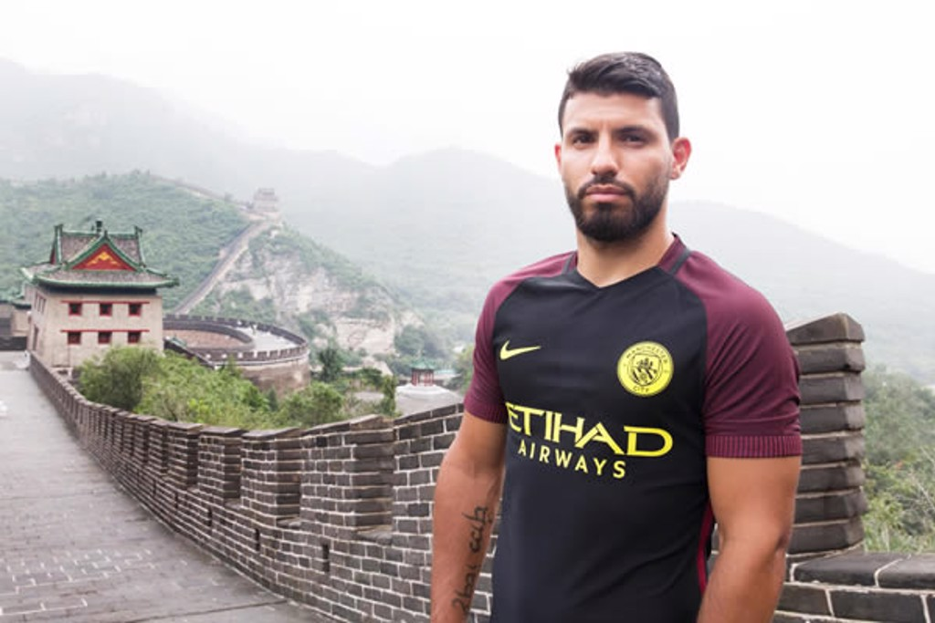 SERGIO: Aguero poses in the new Nike away kit.