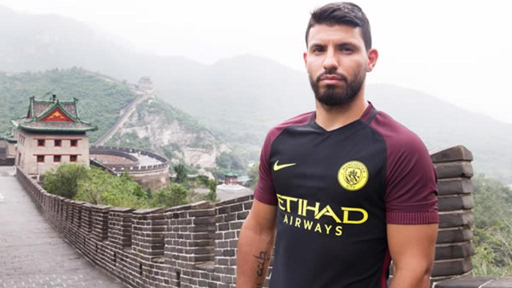 SERGIO: Aguero poses in the new Nike away kit.