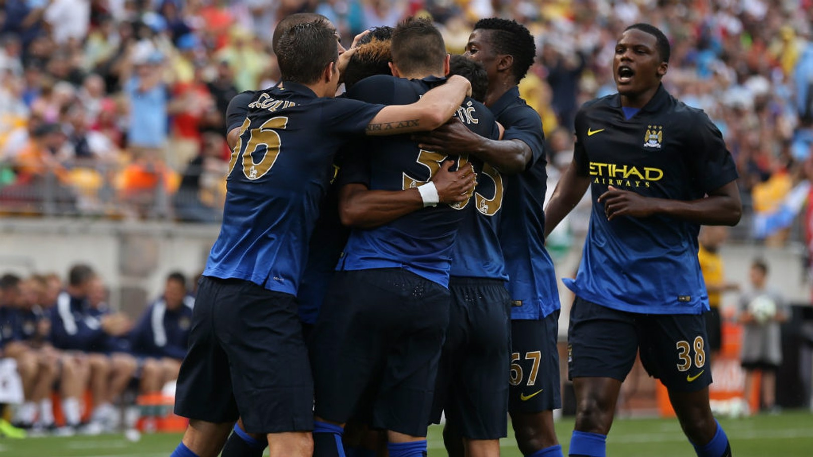 ROUT: City celebrate during their 5-1 victory over Milan in 2014