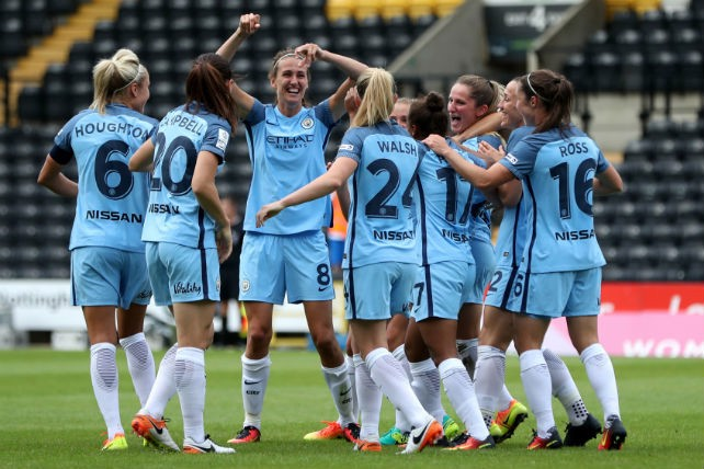 ROUT: City Women celebrate during their 5-1 victory over Notts County