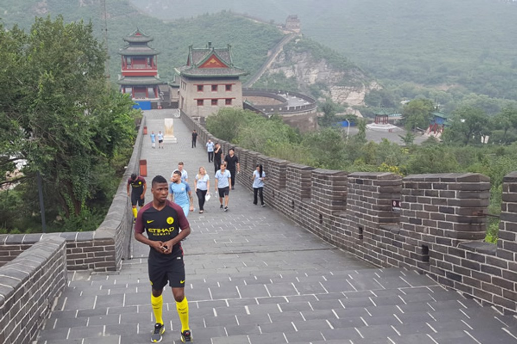 WALKING UP: Kelechi arrives at the Great Wall