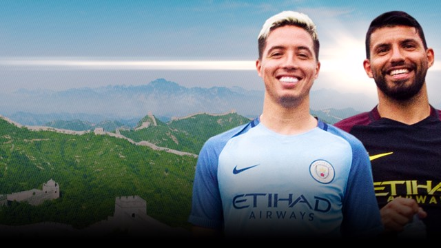 TEAM NASRI v TEAM AGUERO: All smiles now... but who will win?