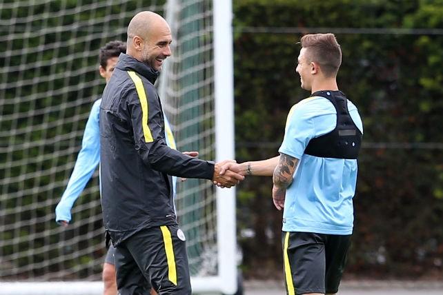 HELLO: Maffeo meets new boss Pep Guardiola