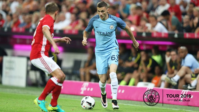 ATTACK: Sinan Bytyqi shows no fear during his second half showing at the Allianz Arena