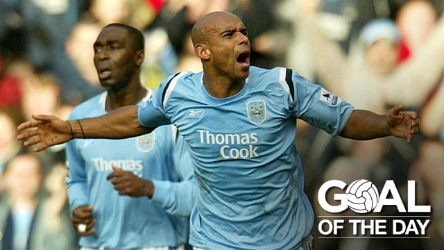DERBY DELIGHT: Trevor Sinclair celebrates with the fans with which he used to stand