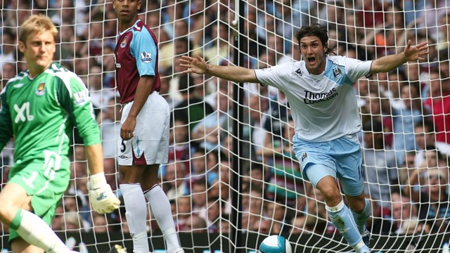 FLYING START: Rolando Bianchi pounces to put Sven-Goran Erikkson's City on the way to victory at West Ham,