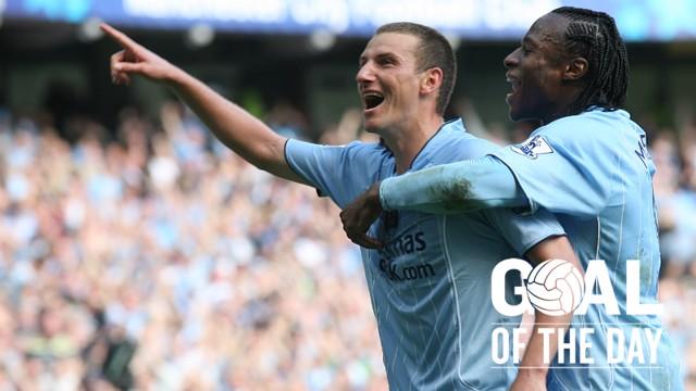 YOU BEAUTY: Elano celebrates his incredible free-kick against Newcastle
