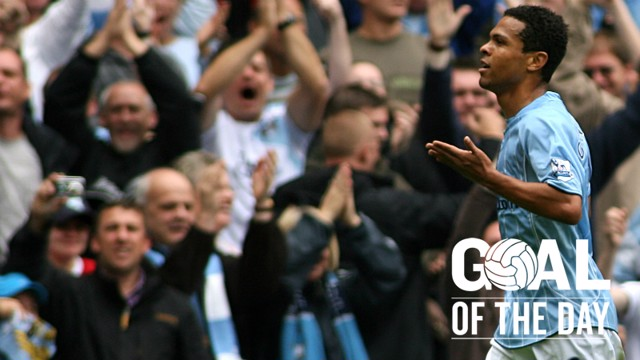 DERBY DELIGHT: Geovanni breaks the deadlock against United