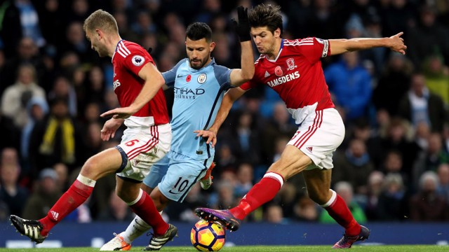 EVERY TOUCH: Aguero during his man of the match performance against Middlesbrough