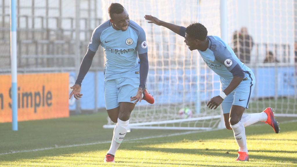 PURE JOY: Ambrose celebrates after scoring City's second goal