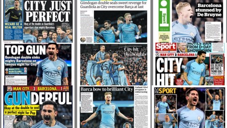 HITTING THE HEADLINES: City's dazzling display against Barcelona takes up the back pages