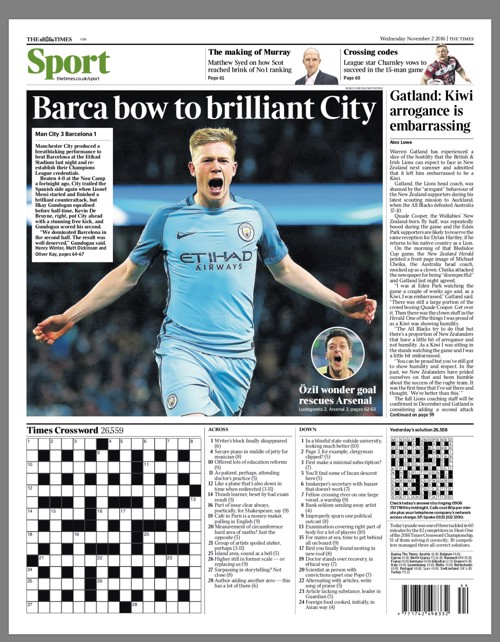 BARCA BOW TO BRILLIANT CITY: The Times